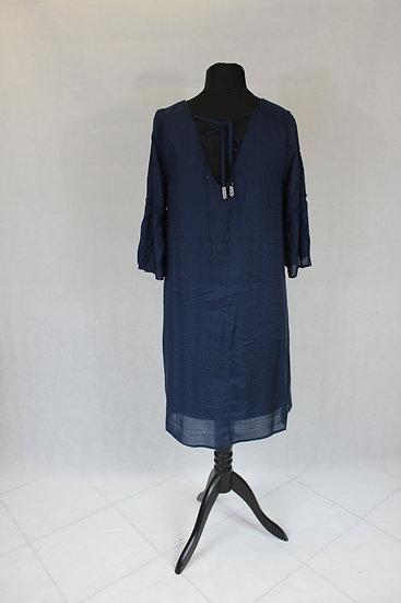 Robe Manche 3/4 uni bleu marine