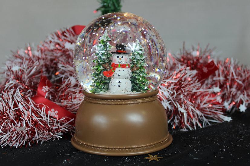 Boule de neige LED + musique décor bonhomme de neige