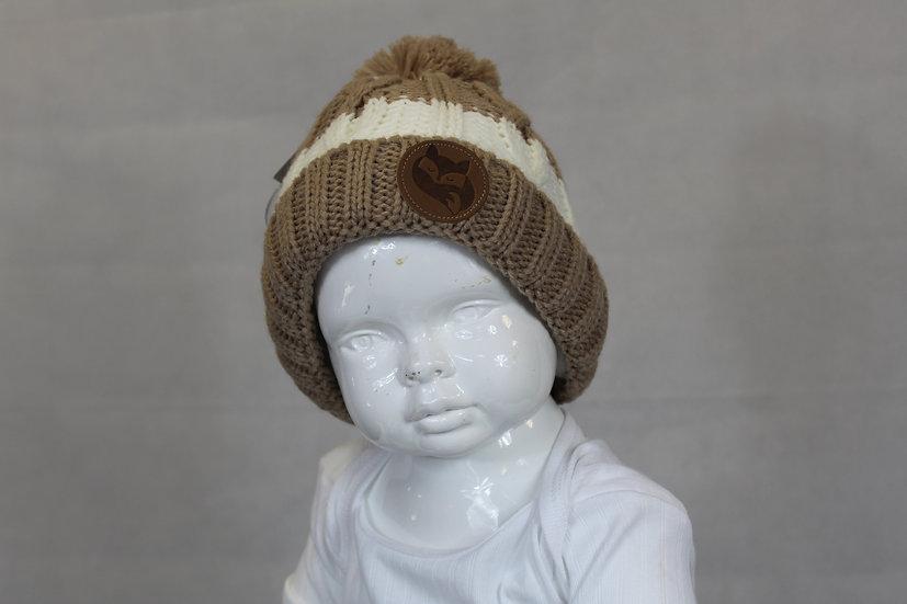 Bonnet beige rayé blanc Garçons