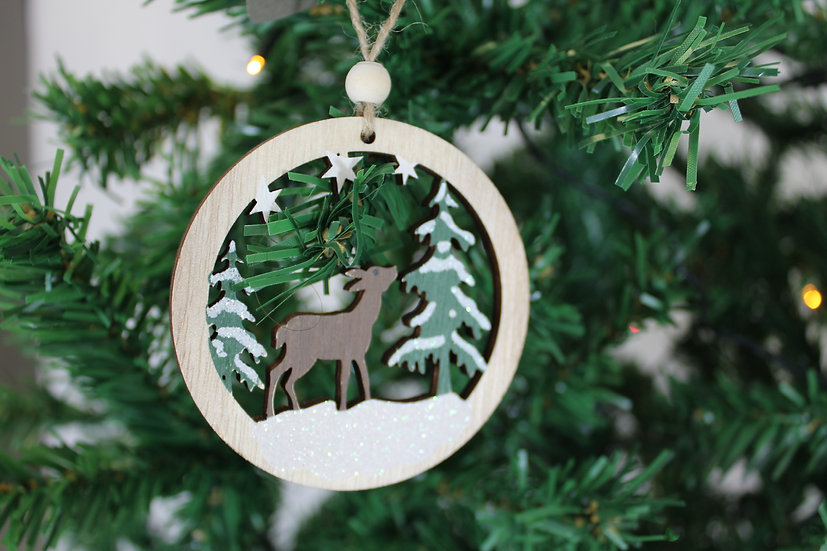 Suspension ronde motif Noël bois