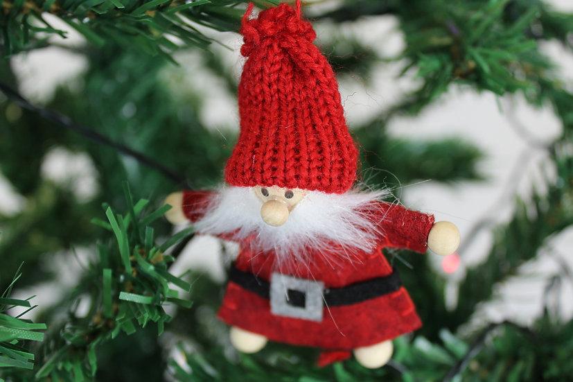 Suspension Père Noël Rouge bois et feutrine