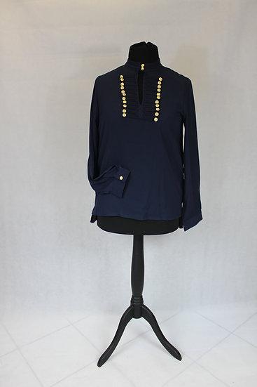 Chemise en voile col 2 boutons uni bleu marine ou blanc