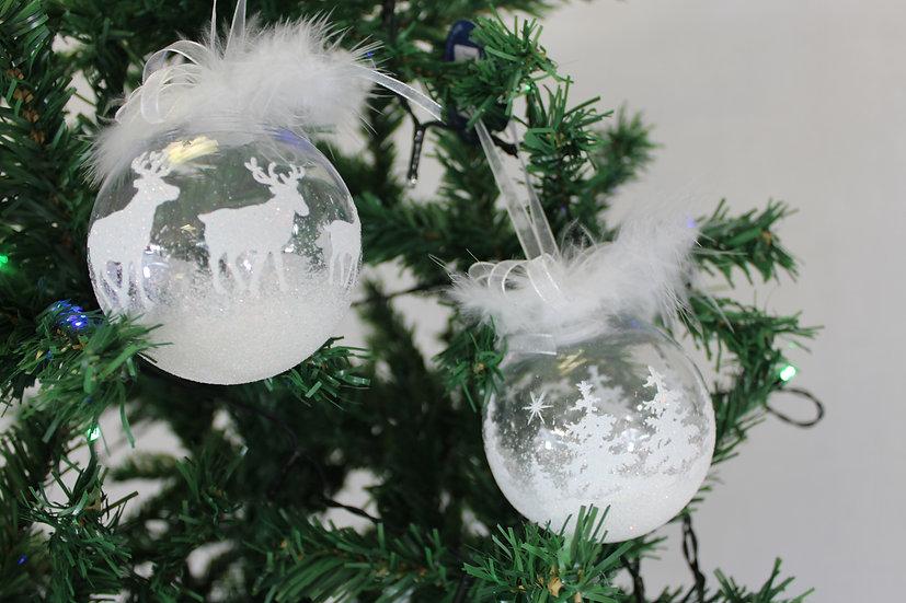 Boule transparente avec rennes ou sapin
