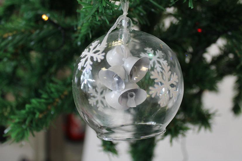 Boule en verre avec cloches  8cm