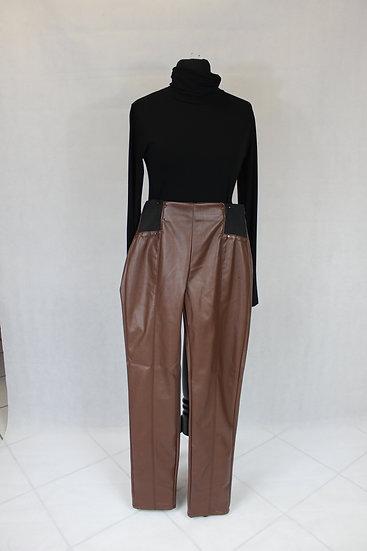 Pantalon simili cuire marron