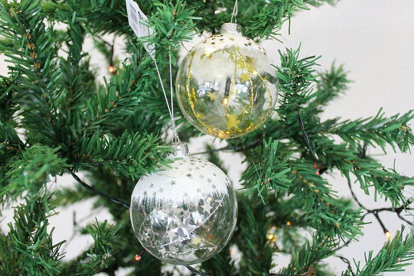 Boule verre étoile or ou argent     8cm