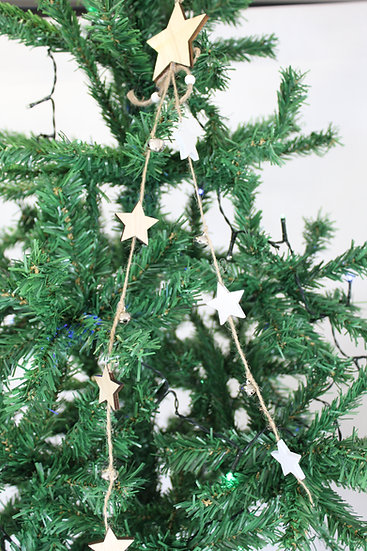 Guirlande étoile bois nature
