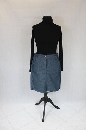Jupe courte droite couleur Jean gris
