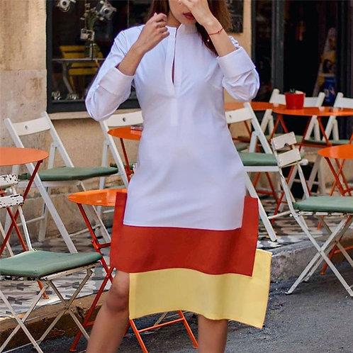 Shirt Dress Yellow Orange Patchwork  Long Sleeve Robes Tunics