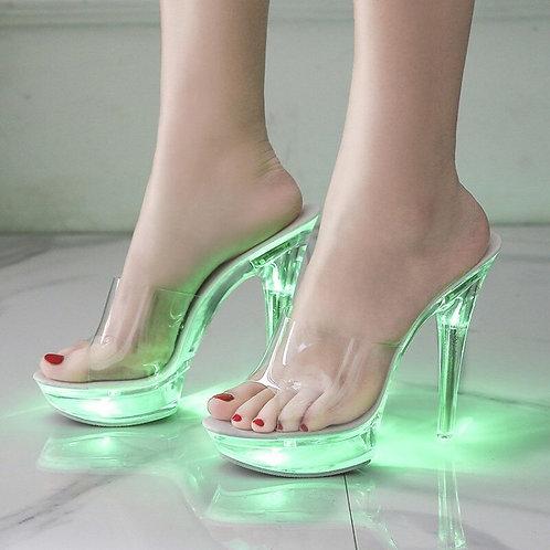 Transparent LED Light Stilettos Super High Heel 13cm  al Pumps Slipper Plus Sz