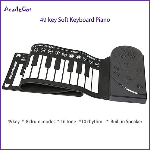 49 Key Hand Roll Electronic  Soft Flexible Keyboard Roll Up Piano With Speaker