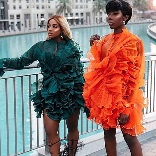 Ruffles Floral Tulle  2020 Full Sleeves Short Dress Women Clothing Vestidos