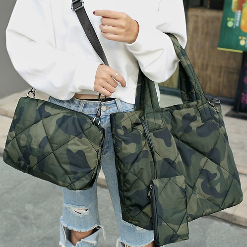 Down Cotton Shoulder3pcs Bags Handbags Large Totes Army Green Big Purses