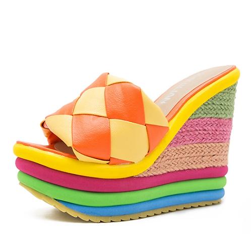 Rainbow Colour Cane Straw Weave Platform Peep Toe High Heels Female Sandals