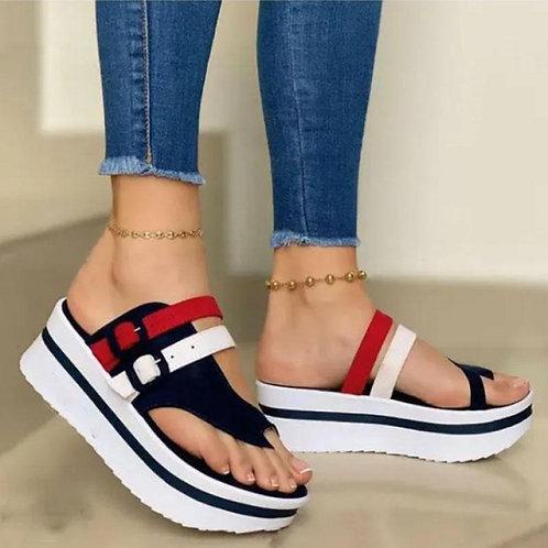 Casual  Platform Peep Toe Shoes Slingback Lady Mixed Colors Buckle Sandals