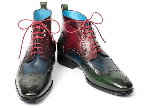 Paul Parkman Wingtip Ankle Boots Three Tone Green Blue Bordeaux (ID#777-GRN-BLU)