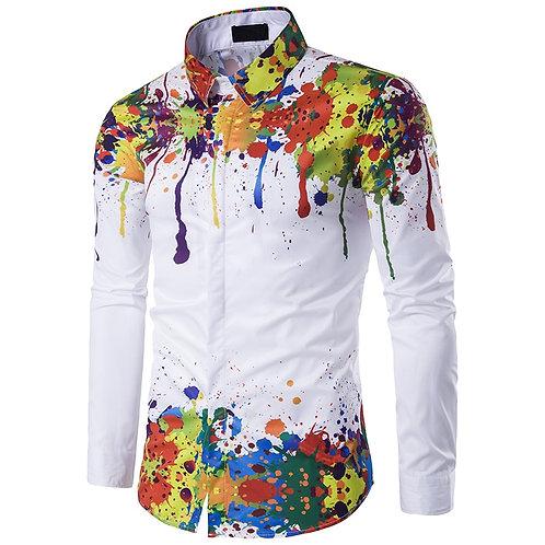 3D Splash Paint Print Slim Fit Shirts Mens Long Sleeve Dress Shirts Top M-3xl