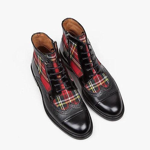 Plaid Boots Lace Up Mens  4M193
