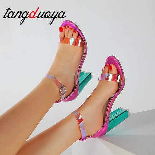 Clear Transparent Strappy Buckle Sandals High Heels Shoes Woman