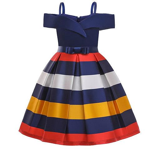 Off Shoulder Kids Girl Dress Princess Party Striped