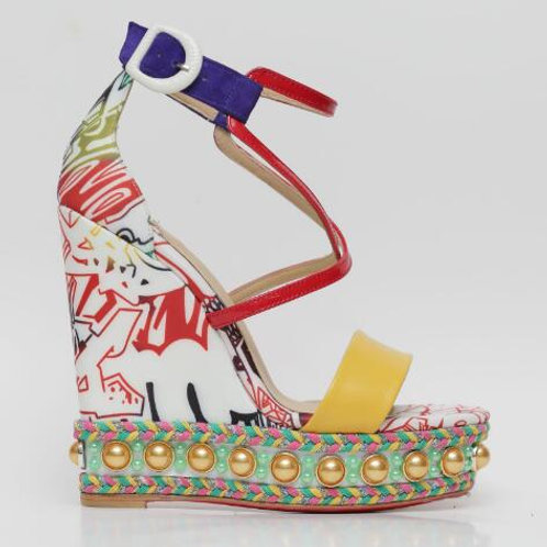 Pearl Multi Flower Printed Cutouts Gladiator Shoes Ladies Super High Sandals
