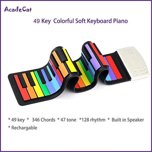 49 Keys Silicone Foldable  Keyboard Electronic Piano Rainbow Key Rechargable
