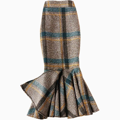 Coffee Plaid Woolen Mermaid Skirt High Waist Package Hip  Skirt Plus Size 4XL