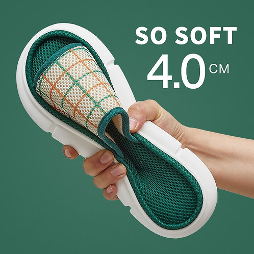Mesh Cloth Slippers Indoor Platform Non-Slip  Plaid Slides Sandals