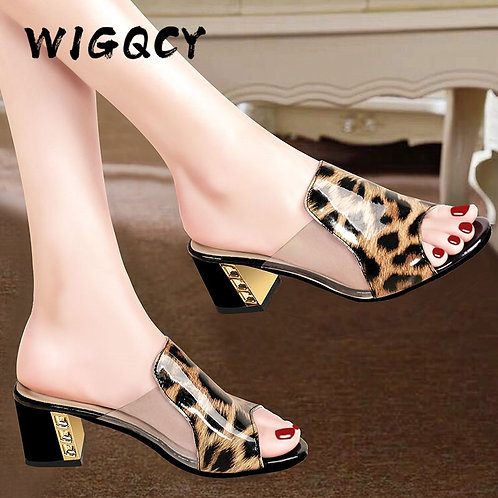 Square Heel Women Shoes Fashion Slippers Ladies Shoes Thick Heel Women