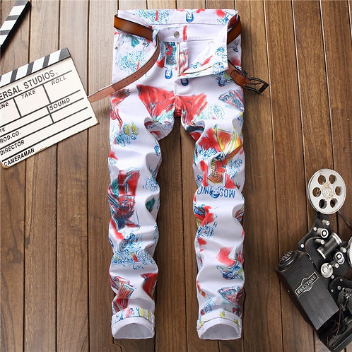 Winter Men's 3D Jeans Trendy Holes Straight Denim