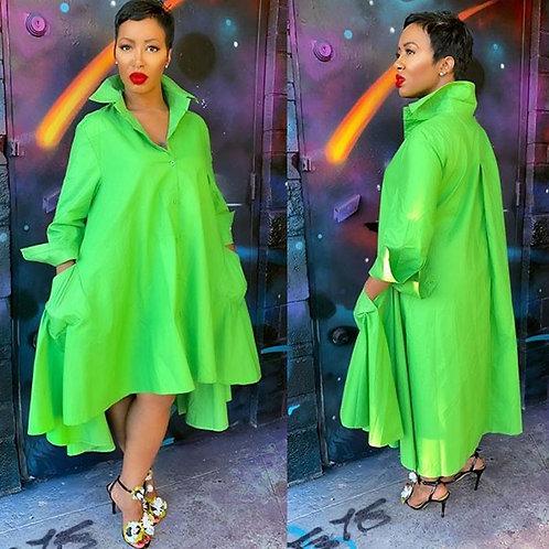 Green Loose Shirt Turn-Down Long Sleeve Oversize irregular hem Pocket Dress