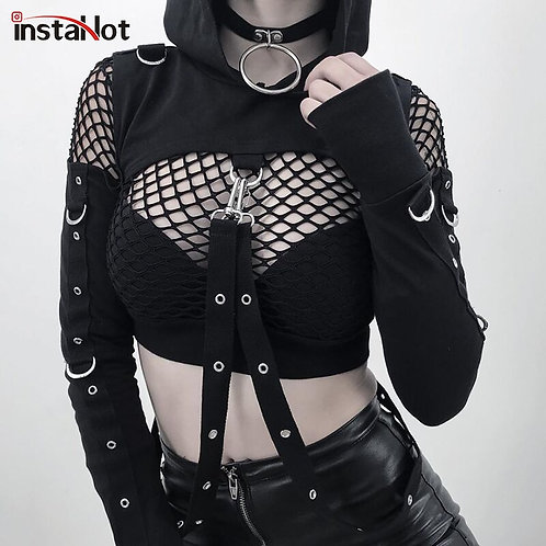 Shoulder Hooded Women Gothic Long Sleeve Crop Tops Lady Fashion Clothes Loose