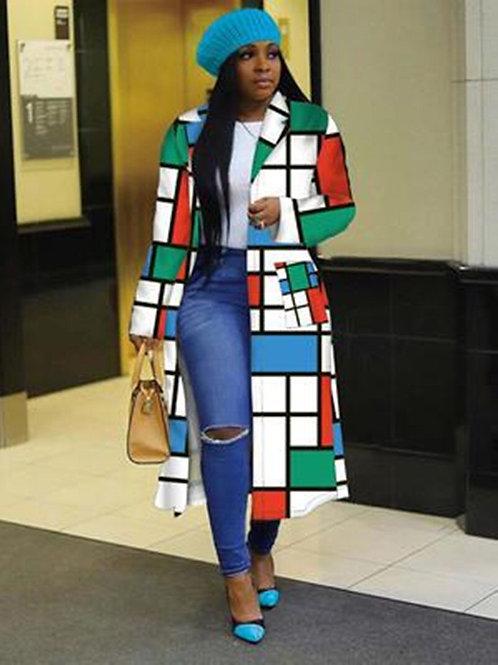 Ladies  Long Sleeve Lapel Jacket Casual Outdoor Long Windbreaker Jacket Women