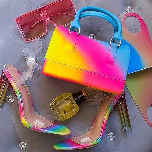 Bag Colorful Pillow Bag Diagonal Jelly Bag High Capacity Cylindrical Chain