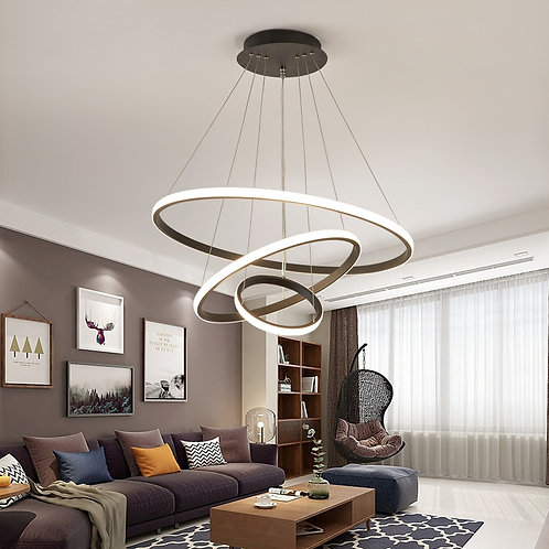 Black/White/Coffee  Led Pendant   Circle Rings Aluminum light Lamp Fixtures