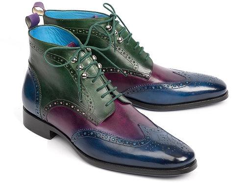 Paul Parkman Wingtip Ankle Boots Three Tone Blue Purple Green (ID#777-BLU-PRP)