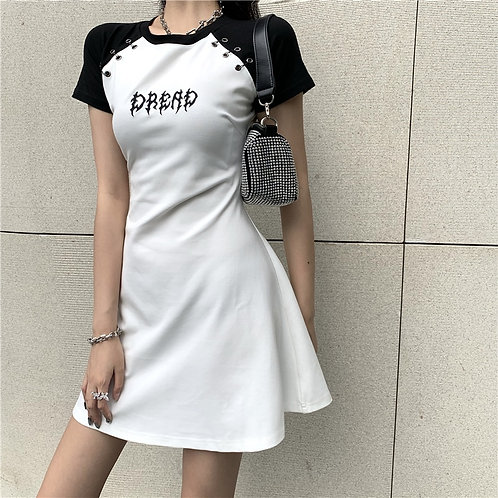 Gothic Summer Dress Harajuku  Letter Print Skinny Sexy Bodycon Dresses Punk