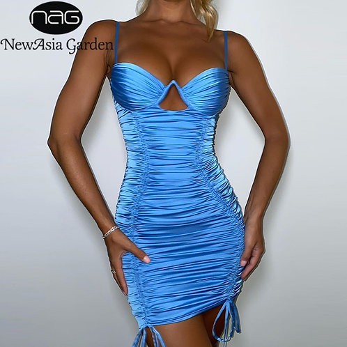 Satin Blue Backless Cut Out Drawstring  Slim Fit Bodycon