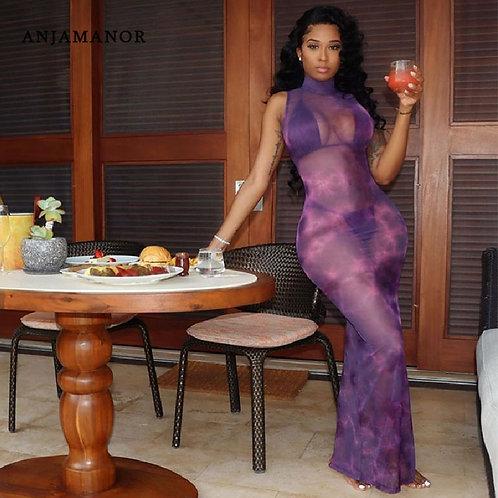 Tie Dye Mesh Printed Dresses for Women ClotheS Open Back Bodycon Dress D6-Cz16