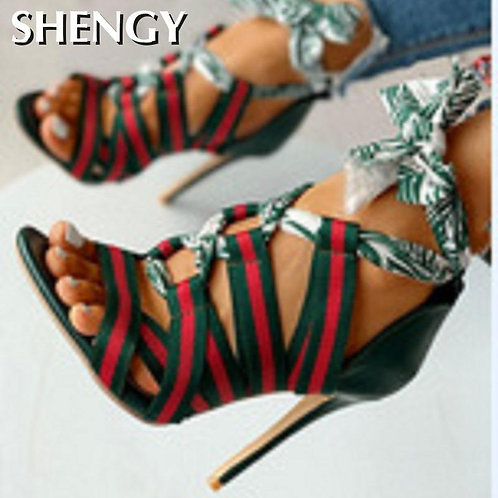 Lace Up Sandals Mixed Colors Cross Strappy Stiletto