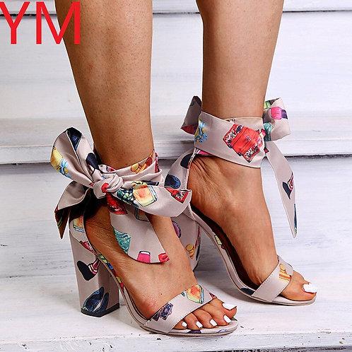 Bowknot High Square HeelLeather Heels Pumps Shoes Gladiator Ankle Strap