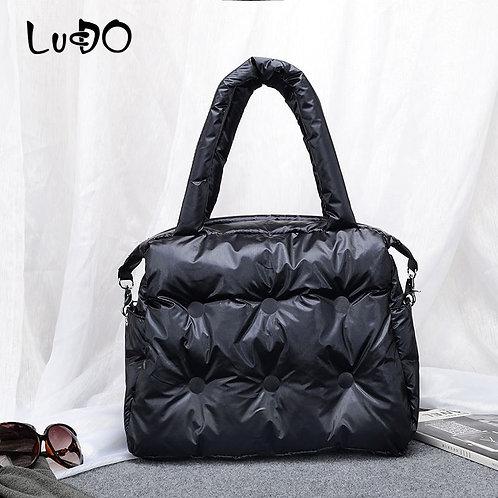 Space Pad Cotton Feather Down  Handbag Shoulder Crossbody Bag