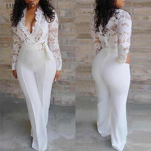 White Jumpsuit Women Lace Wide Leg Long Pants ady  Jumpsuits for Women Lugentolo