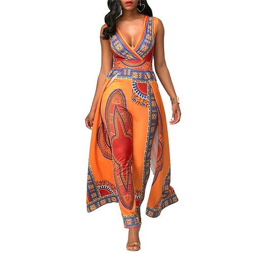 Dashiki Ethnic African Print Jumpsuit V-Neck Sleeveless  One Piece Jumpsuit