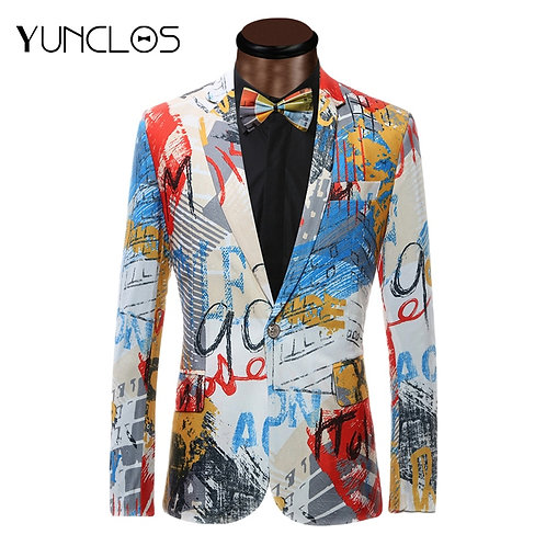 Men Suit Jacket With Bowtie Fashion Printed  Blazer up to  6XL