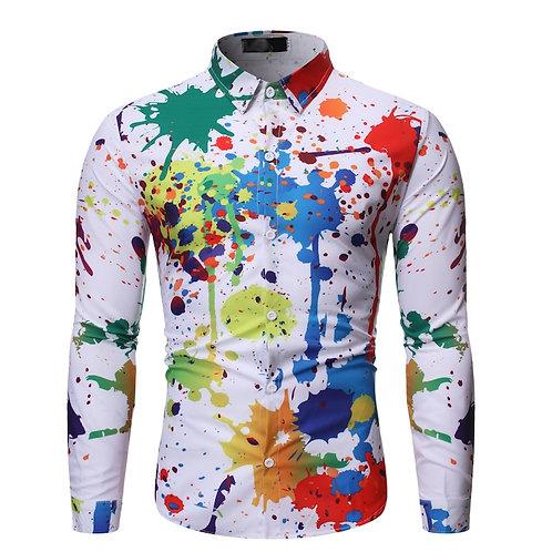 Ink Splash Paint Color Slim Shirts Leisure Long Sleeve Shirt Spring Male Shir
