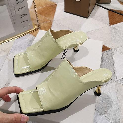 Square Toe  Summer Sandals Slippers Ladies Elegant High Heel Dress Slides Shoes