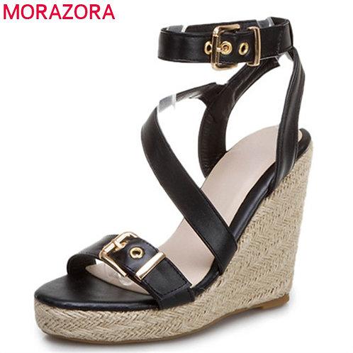 Wedges Platform Sa Ankle Buckle Summer Casual Shoes Fashion Ladies Sandals Black