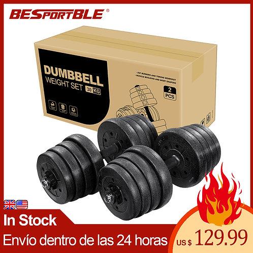 30kg Adjustable Solid Fitness Dumbbell Set Safety Non-Slip