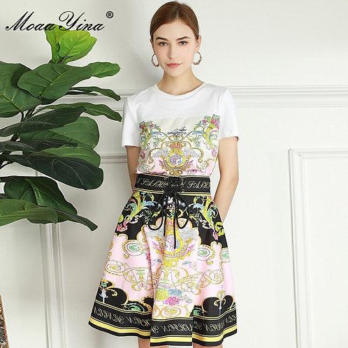 Skirt Suit Women's Short Sleeve White Top+High Waist Mini Skirt 2 Piece Suit
